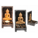 Wooden tea pot holder, Buddha with decorative ston