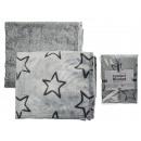 Gray Blankie with black stars 100% poly