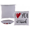 White Pillows with red heart and black letters