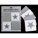 groothandel Tafellinnen: Cork coasters,  Stern, ongeveer 10,5 cm, set van 4