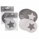 groothandel Tafellinnen: Papier Coasters,  Star, ongeveer 9,5 cm, 2-kleur, z