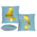 Blue Pillows , Golden Mermaid, with Reissvers