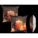 Cream colored Pillows , candles with 4 LEDs, with