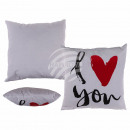 wholesale Cushions & Blankets: White Kisse with red heart and black writing