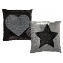 wholesale Cushions & Blankets: Silver / Black Sequin Pillows , Star & Heart,