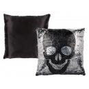 Silver / Black Sequin Pillows , Skull