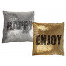 wholesale Cushions & Blankets: Silver / Gold Sequin Pillows , Enjoy & Hap