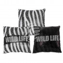 wholesale Cushions & Blankets: Black / White Sequin Pillows , Wild life, with R