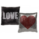 wholesale Cushions & Blankets: Silver / Black Sequin Pillows , Red Heart & w