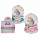 wholesale Snow Globes: Polyresin glitter ball, unicorn, on pedestal