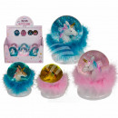 Polyresin glitter ball, unicorn, with feathers &am