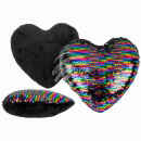 wholesale Cushions & Blankets: Rainbow Sequin Pillows , Heart, 50% PET & 50%