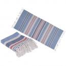 Ręcznik hammamowy biały / niebieski / czerwony Fou
