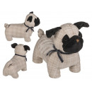 wholesale Business Equipment: Checked fabric doorstop, dog, approx. 28 x 21 cm