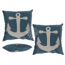 Blue Pillows with white print, anchor