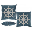 Blue Pillows with white print, steering wheel