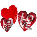 Rot/silberfarbenes Wende-Pailletten-Kissen, Love