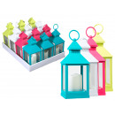 Plastic lantern with LED candle, about 24.5 x 10.5