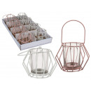 groothandel Kaarsen & standaards: Metalen kandelaar  met glas, Polygon, ca