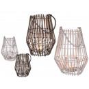 wholesale Wind Lights & Lanterns: Wicker lantern with glass insert & textile str