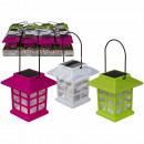 Großhandel Garten & Baumarkt: Farbiger Kunststoff-Laterne mit Solarzelle & LED