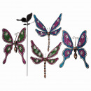 Metal garden plugs, butterfly & dragonfly with