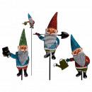 Metal garden plug, garden gnome with glitter, appr