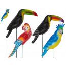 Kunststoff-Gartenstecker, Papagei & Tukan, glitter