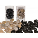 Deco stones, black & natural assorted , approx