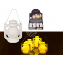wholesale Wind Lights & Lanterns: White ceramic lantern with LED (including batterie