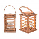 wholesale Wind Lights & Lanterns: Natural wooden lantern with glass insert, approx.
