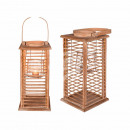 wholesale Wind Lights & Lanterns: Natural wood lantern with glass insert, approx. 52