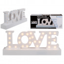 White plastic lettering, Love, with 27 warm white