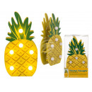 Yellow wood pineapple with 6 warm white LEDs, appr