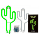Green neon lamp, cactus, approx. 26 x 14 cm, for 3