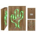 Grüne Neon-Leuchte in Holzbox, Kaktus
