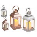 Kunststoff-Laterne, metallic, mit LED-Kerze