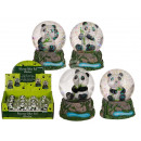 wholesale Snow Globes: Polyresin glitter ball, Panda, on pedestal