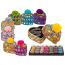 wholesale Jewelry Storage: Colorful Heart Jewelery Box with Pom Pom, approx.