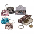 Metal key fob wallet, sequins, approx