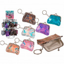 Metal key chain, purse, metallic