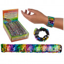 Pailletten-Schnapp-Armband, Rainbow, ca. 21,5 cm