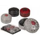 grossiste Boîtes et presentoirs bijoux: assorti bijoux ronde, rouge, argent, assorti noir