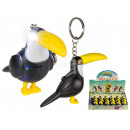 Metal key ring, toucan, with LED & sound