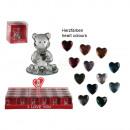 grossiste Autre: Ours en verre avec  coeur env. 4,5 cm, 12 assortim
