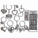 Metal Keychain, Heart, 8 ass., 48 pcs. per display