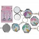 Metal key fob, unicorn pocket mirror,