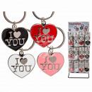 grossiste Cadeaux et papeterie: Métal Porte-clés,  Je t'aime, environ 4 cm, 4-