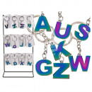 Metal Keychain, Rainbow Letter, A to Z