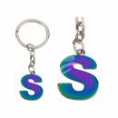 Metal Keychain, Rainbow Letter S